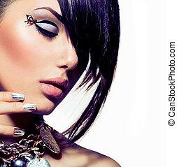 mód, mód, haj, portrait., divatba jövő, formál, leány