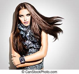 mód, mód, szépség, nő, portrait., formál, leány, népszerűség