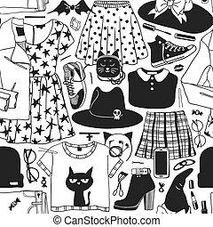 mód, művészet, mindenszentek napjának előestéje, tinta, snickers, alj, work., pattern., seamless, kreatív, háttér., húzott, set:, zakó, kéz, csizma, kalap, valódi, zokni, bőr táska, vektor