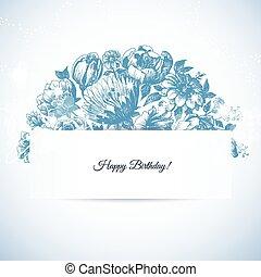 mód, maratás, kártya, csokor, szüret, köszönés, kéz, virágos, húzott, kert