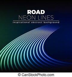 mód, megvonalaz, neon, fordít, háttér, 80, fényes, út