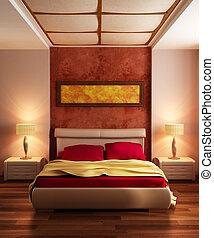 mód, modern, vakolás, hálószoba, belső, 3