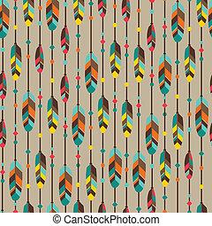 mód, motívum, feathers., seamless, etnikai, bennszülött