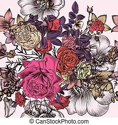 mód, motívum, menstruáció, virágos, bevésett, szüret, kéz, húzott