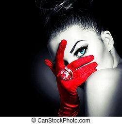 mód, nő, fárasztó, pár kesztyű, titokzatos, szüret, piros, varázslat