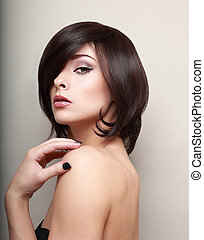 mód, nő, rövid szőr, looking., fekete, szexi