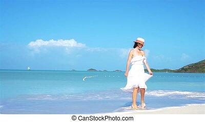 mód, nő, tengerpart, fiatal, kalap