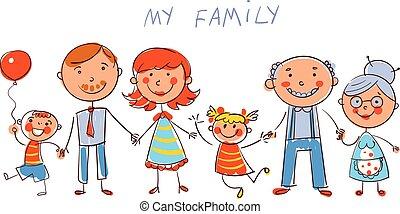 mód, nagy, gyermekek, csekkszámlák, family., boldog