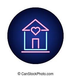 mód, neon, ikon, épület, szív