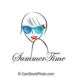 mód, nyár, hölgy, idő