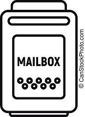 mód, postaláda, áttekintés, ikon, üres