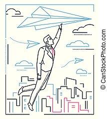 mód, repülés, -, repülőgép, dolgozat, tervezés, ábra, üzletember, egyenes