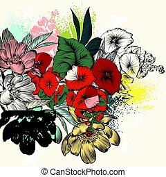 mód, retro virág, bevésett, kéz, húzott