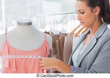 mód, ruha, mérés, tervező