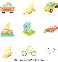 mód, szállítás, ikonok, állhatatos, csereüzlet, karikatúra