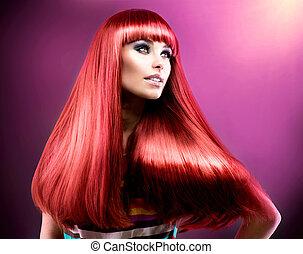 mód, szépség, hair., formál, hosszú, egészséges, piros, egyenes