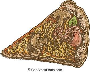 mód, szelet, színes, szüret, kéz, húzott, pizza