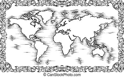 mód, térkép, világ, bevésett, rajz, öreg, fametszet