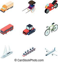 mód, transport., részvény, emberek, use., jelkép, szállítás, isometric, gépek, állhatatos, ikon, vidék, vektor, víz, gyűjtés, karikatúra, illustration., levegő