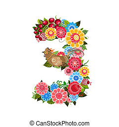 mód, virág, khokhloma, szám, madarak