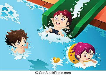 móka, gyerekek, birtoklás, pocsolya, úszás