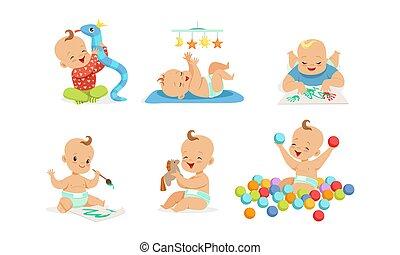 móka, imádnivaló, fiú, festmény, csecsemő, apró, elfoglaltságok, állhatatos, ábra, ujjlenyomatok, különböző, birtoklás, karikatúra, vektor, lány, játék, csecsemő