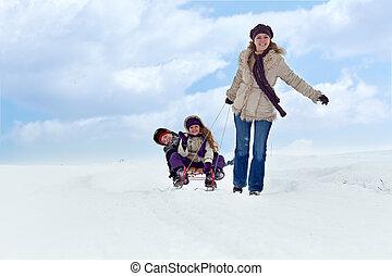 móka, sleigh, tél