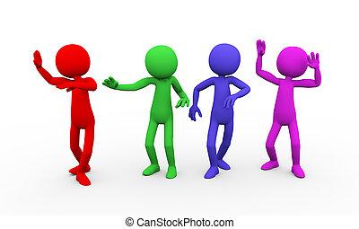 móka, tánc, 3, színes, emberek