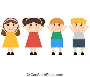 móka, ugrás, csoport, gyerekek, boldog