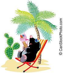 móló, tengerpart, karikatúra