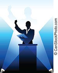 mögött, árnykép, business/political, pódium, beszélő