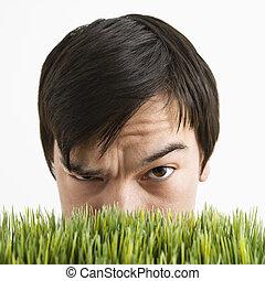 mögött, gyanús, grass., ember