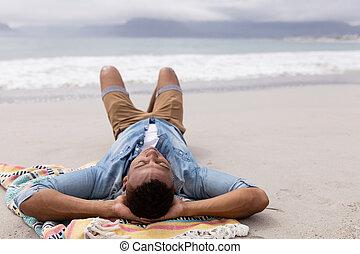mögött, kézbesít, fej, alvás, ember, tengerpart