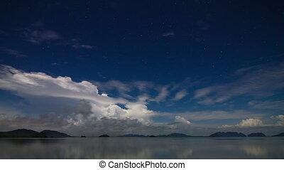 múlás, éjszaka ég, tenger, idő