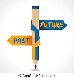 múlt, nyíl, ceruza, jövő