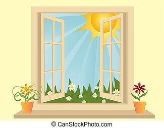 műanyag, kilátás, ablak, zöld, kinyitott, mező, szoba