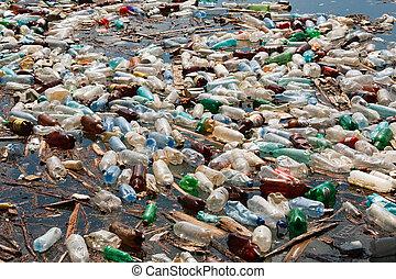műanyag palack, szennyezés