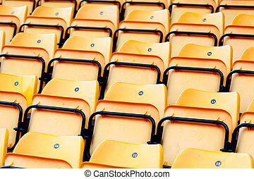 műanyag, sárga, stadion leültet