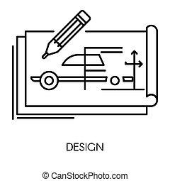 műszaki, autó, elszigetelt, rajz, mérnök-tudomány, mechanikai, tervezés, ikon