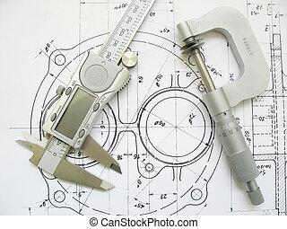 műszaki, caliper, mikrométer, drawing., mérnök-tudomány, digitális, eszközök