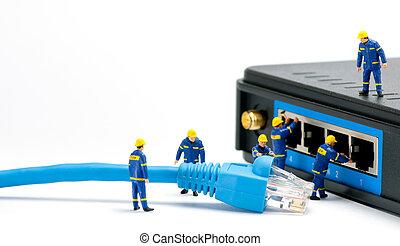 műszaki, connecting, hálózat, kábel