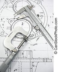 műszaki, mérnök-tudomány, eszközök, rajz