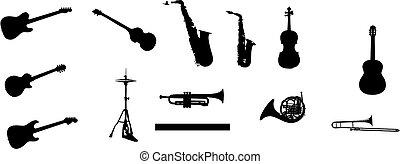 műszerek, különféle, zenés