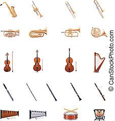 műszerek, vektor, zenekar