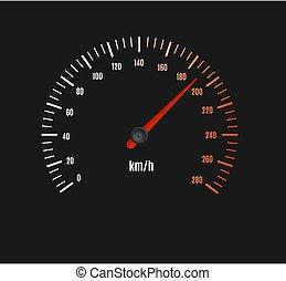 műszerfal, sebességmérő, halad autó, pult, vagy, vektor, pointer.