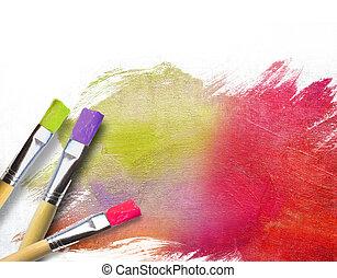 művész, befejezett, fél, söpör, vászon, festett