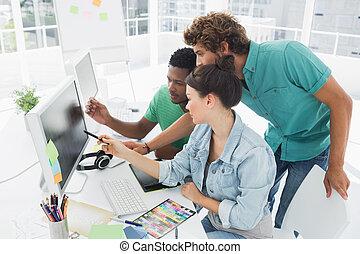 művész, dolgozó, három, hivatal, számítógép