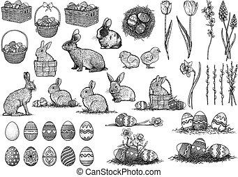 művészet, állhatatos, rajz, ábra, egyenes, húsvét, metszés