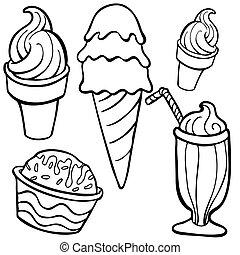 művészet, élelmiszer, részlet, jég, egyenes, krém