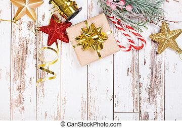 művészet, ünnepek, white háttér, zenemű, -e, fa, fából való, hely, dekoráció, text., karácsony, másol